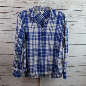 JCrew Plaid Blouse size small Blue